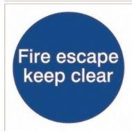 House Nameplate Co Fire Escape Keep Clear - 10x10cm - Sticker